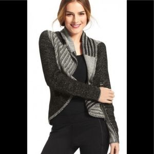 Cabi Patchwork Circle Cardigan Medium Black Gray